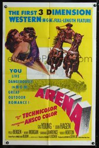 b051 ARENA one-sheet movie poster '53 Gig Young, cool 3-D rodeo artwork, the first 3D western!