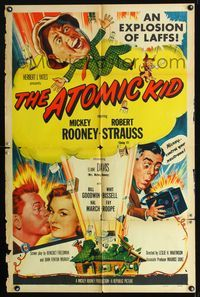 b054 ATOMIC KID one-sheet movie poster '55 nuclear Mickey Rooney, an explosion of laffs!