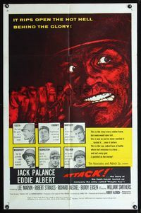b055 ATTACK one-sheet movie poster '56 Robert Aldrich, cool close up artwork of Jack Palance!