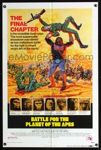 b063 BATTLE FOR THE PLANET OF THE APES one-sheet movie poster '73 sci-fi!