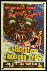 b065 BEAST WITH 1,000,000 EYES one-sheet '55 great Albert Kallis art of monster attacking sexy girl!