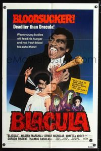 b073 BLACULA one-sheet movie poster '72 black vampire William Marshall is deadlier than Dracula!