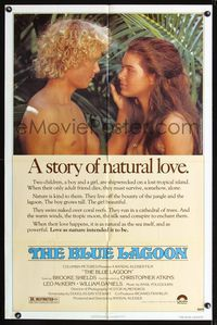 b077 BLUE LAGOON one-sheet movie poster '80 sexy young Brooke Shields & Christopher Atkins