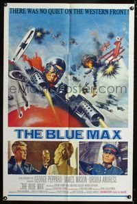 b078 BLUE MAX one-sheet movie poster '66 great artwork of WWI fighter pilot George Peppard!