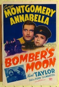 b082 BOMBER'S MOON one-sheet movie poster '43 George Montgomery, pretty Annabella in uniform!