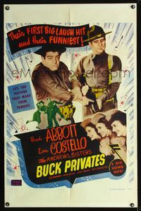 b005 BUCK PRIVATES one-sheet movie poster R53 Bud Abbott & Lou Costello, plus The Andrews Sisters!