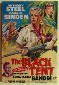 b071 BLACK TENT English one-sheet '57 soldier Anthony Steele marries the Sheik's daughter, cool art!