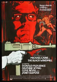 b072 BLACK WINDMILL English one-sheet movie poster '74 best artwork of Michael Caine by A. Cesselon!