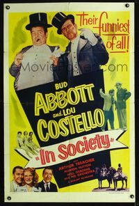 b006 IN SOCIETY one-sheet movie poster R53 Bud Abbott & Lou Costello wearing top hat and tuxedo!