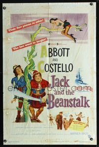 b013 JACK & THE BEANSTALK one-sheet poster '52 Abbott & Costello, their first picture in color!