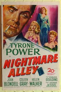 b448 NIGHTMARE ALLEY one-sheet poster '47 art of Tyrone Power with cigarette & sexy Joan Blondell!