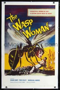 b001 WASP WOMAN linen one-sheet poster '59 classic artwork of Roger Corman's lusting insect queen!