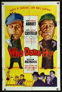b007 WHO DONE IT one-sheet R48 Sherlock Holmesian detectives Bud Abbott & Lou Costello, cool art!