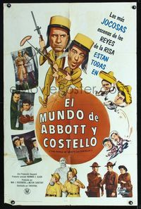 b016 WORLD OF ABBOTT & COSTELLO Spanish/U.S. one-sheet '65 Bud & Lou's greatest laughmakers, different!