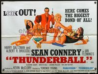 1a191 THUNDERBALL British quad poster '65 great art of Sean Connery as James Bond with sexy girls!