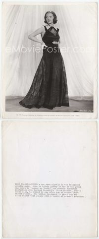 1b013 ACCENT ON YOUTH 8x10 still '35 gorgeous Sylvia Sidney modeling a black chiffon & satin gown!