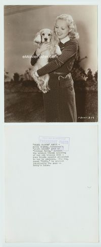 1b054 COLLEGE SWING candid 7.5x9.5 still '38 Betty Grable with her Cockerspaniel dog by Don English!