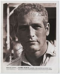 1b058 COOL HAND LUKE signed 8x10 movie still '67 by Paul Newman, who is shown in super close up!