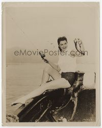 1b077 ESTHER WILLIAMS 8x10 '50s great publicity image on boat with reel & fish showing sexy legs!