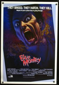 1e021 BLUE MONKEY Canadian 1sh '87 they breed, they hatch, they kill, great art by Jim Warren!