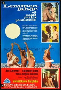 1e030 FOUNTAIN OF LOVE Finnish movie poster '68 barest, bawdiest sex, many nude teens covorting!