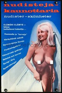1e031 NUDES OF THE WORLD Finnish poster '61 cool image of sexy nude blonde girl emerging from tent!