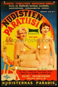 1e032 NUDIST PARADISE Finnish poster '58 sexiest nude girls, the original version, art by R. Maatta!