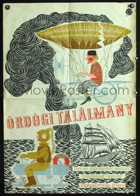 1e034 FABULOUS WORLD OF JULES VERNE Hungarian movie poster '61 cool different sci-fi artwork image!