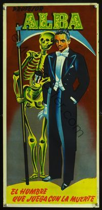1e020 PROFESOR ALBA Spanish magic show poster '40s great artwork of the man who plays with death!