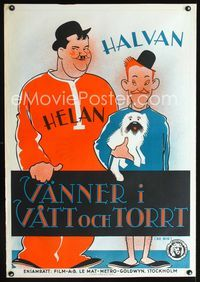 1e001 BE BIG Swedish poster '31 great artwork of Laurel & Hardy, prequel to Sons of the Desert!