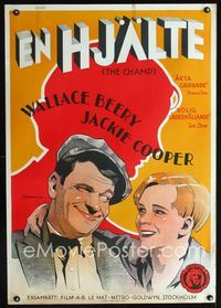 1e006 CHAMP Swedish movie poster '31 art of boxer Wallace Beery & Jackie Cooper by Rohman!