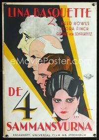 1e008 COME ACROSS Swedish movie poster '29 cool art of Lina Basquette & three stars by Rohman!