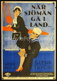 1e009 DAMES AHOY Swedish poster '30 great art of Navy sailor Glenn Tryon lifting sexy Helen Wright!