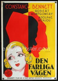 1e012 EASIEST WAY Swedish poster '31 wonderful art of Constance Bennett & her lovers by Rohman!