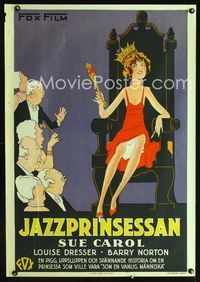 1e013 EXALTED FLAPPER Swedish poster '29 wonderful art of sexy jazz princess Sue Carrol on throne!