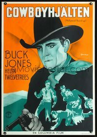 1e016 HOLLYWOOD ROUND-UP Swedish movie poster '37 best art of Buck Jones by Rohman!
