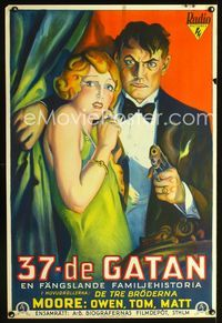 1e019 SIDE STREET Swedish '29 great full art of gangster Owen Moore with sexy girl pointing gun!