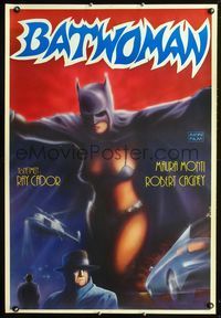 1e057 BATWOMAN Turkish movie poster R80s Maura Monti, great art of sexy superhero by Huseyin!