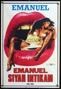 1e059 BLACK EMANUELLE Turkish poster '75 ultra sexy art of mostly naked Karin Schubert in huge mouth
