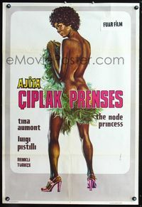 1e065 NUDE PRINCESS Turkish movie poster '76 great sexy art of nearly naked Ajita Wilson by M. Bal!