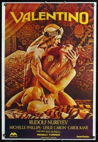 1e067 VALENTINO Turkish movie poster '77 great image of Rudolph Nureyev & naked Michelle Phillipes!
