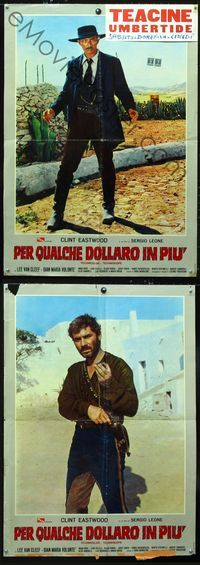 1o021 FOR A FEW DOLLARS MORE 2 Italian lrg pbustas '65 close up Lee Van Cleef & Gian Maria Volonte!