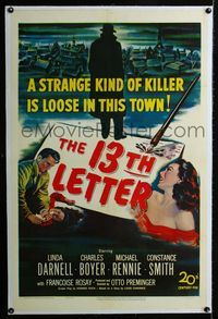 1s046 13th LETTER linen 1sheet '51 Otto Preminger, Linda Darnell, a strange kind of killer is loose!