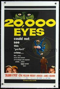 1s049 20,000 EYES linen one-sheet movie poster '61 they could not see the perfect crime, cool art!