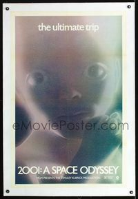 1s050 2001: A SPACE ODYSSEY linen one-sheet R71 rare multi-colored star child, the ultimate trip!