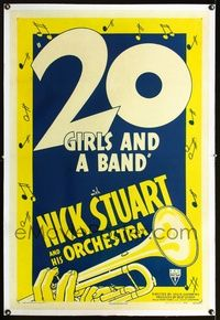 1s048 20 GIRLS & A BAND linen one-sheet R46 cool artwork & graphic design of hand playing trumpet!