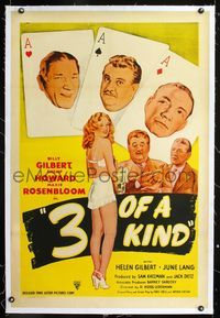 1s051 3 OF A KIND linen one-sheet R40s two great artwork images of Shemp Howard, playing card image!