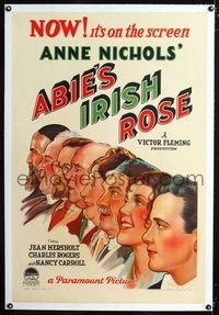1s057 ABIE'S IRISH ROSE linen 1sh '29 stone litho art of Nancy Carroll, Buddy Rogers & entire cast!