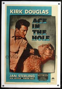 1s058 ACE IN THE HOLE linen one-sheet '51 Billy Wilder classic, Kirk Douglas chokes Jan Sterling!