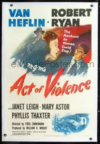 1s059 ACT OF VIOLENCE linen 1sheet '49 Fred Zinnemann, art of Janet Leigh, Van Heflin & Robert Ryan!